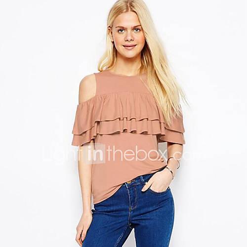 Vrouwen Street chic Zomer T-shirt,Casual/Dagelijks Effen Schouderafhangend Korte mouw Roze Katoen / Linnen Medium