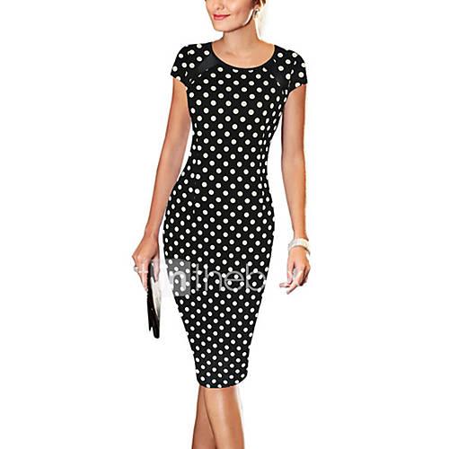 vrouwen-vintage-eenvoudig-street-chic-bodycon-polka-dot-jurk-tot-de-knie-ronde-hals-katoen-polyester