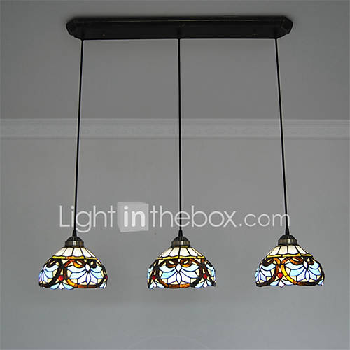 8inch 3 Lights Retro Tiffany Pendant Lights Glass Shade Living Room Dining Ro