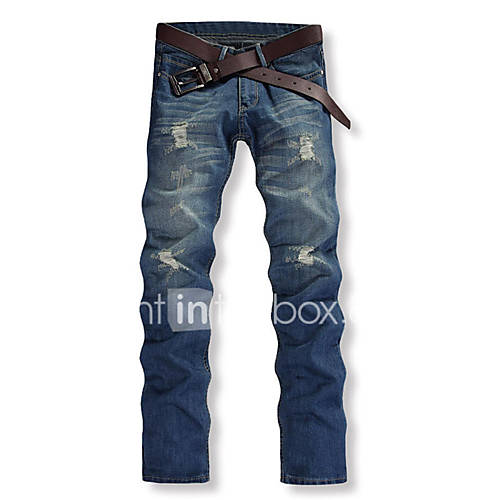 Hot Sale High Quality Men's ChinosCasual / Work Solid Cotton Denim Jeans