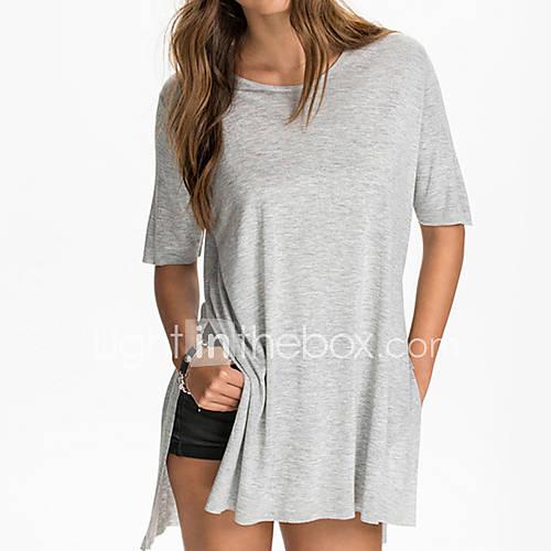 Vrouwen Eenvoudig / Schattig Zomer T-shirt,Casual/Dagelijks Effen Ronde hals Korte mouw Zwart / Grijs Katoen Dun