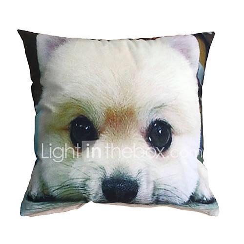 3D Design Pint White Dog Decorative Throw Pillow Case Cushion Cover for Sofa Home Decor ...