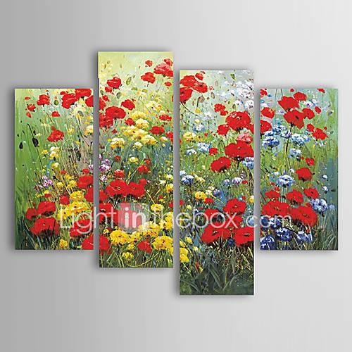 pintados-a-mao-floralbotanicomoderno-4-paineis-tela-pintura-a-oleo-for-decoracao-para-casa
