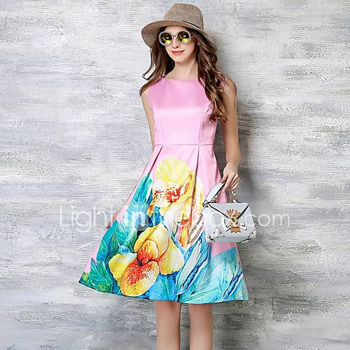 vrouwen-casual-dagelijks-grote-maten-eenvoudig-street-chic-schede-jurk-bloemen-ronde-hals-tot-de-knie-mouwloos-roze-polyester-zomer