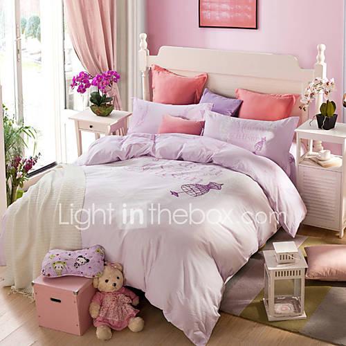 Light purple print duvet cover sets 100 cotton bedding - Light purple comforter set ...