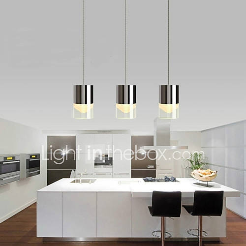 3 lights pendant lights led bulb included modern contemporary dining room kitchen metal - Modern pendant lighting for kitchen ...