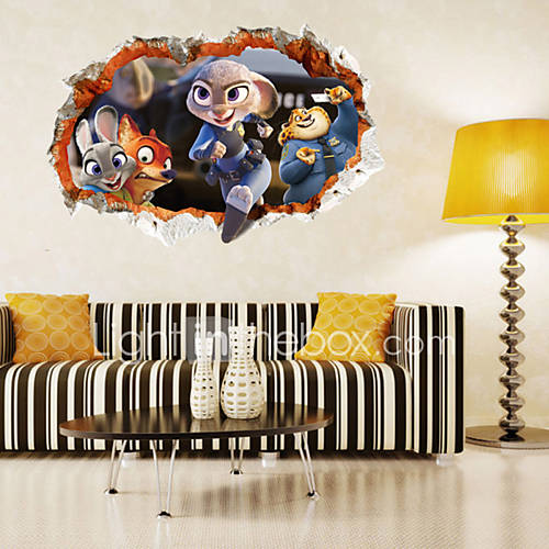 Desenho Animado / Moda Wall Stickers Autocolantes 3D para Parede,PVC 6090cm(23.635.4 inch)