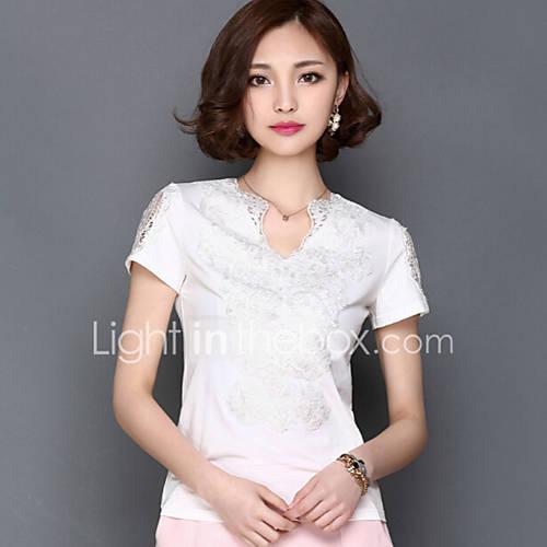 Vrouwen Grote maten / Sexy Lente T-shirt,Casual/Dagelijks Effen V-hals Korte mouw Wit Nylon Medium