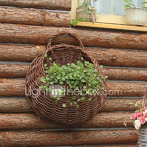 Wall Mount Flower Basket : Natural rattan got up handwork wall mounted flower basket