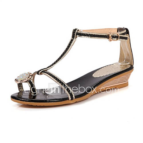 Women 39 s shoes leatherette flat heel comfort sandals for Flat dress sandals for weddings