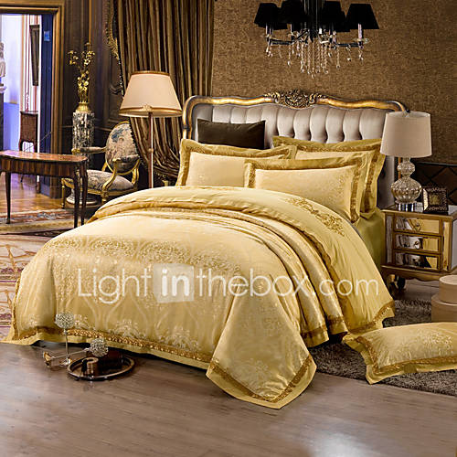 Yellow queen king size bedding set luxury silk cotton for Luxury cotton comforter sets