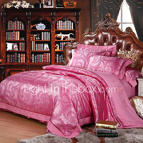 pink flowers luxury silk cotton blend duvet cover sets queen king size bedding set 4981146 2017. Black Bedroom Furniture Sets. Home Design Ideas