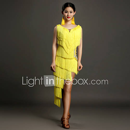 latintanz kleider gelb elastan latintanz f rdamen kleid. Black Bedroom Furniture Sets. Home Design Ideas
