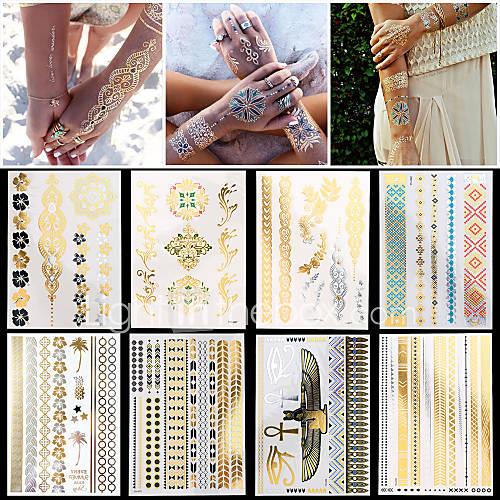 8pcs nuevas mujeres del arte de cuerpo impermeable atractiva de cadena de joyería collar pulsera pegatinas tatuaje temporal de plata de Descuento en Lightinthebox