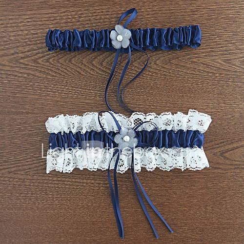 Liga Poliéster Flor / Encaje Azul Descuento en Banggood