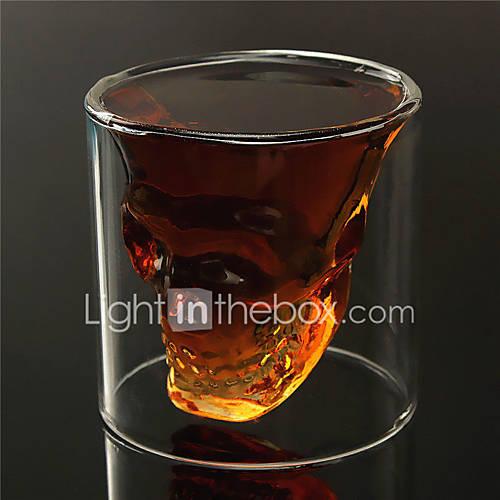 resistente de doble pared transparente creativa miedo cabeza del cráneo de la novedad Vasos de whisky taza vaso vino vodka de calor Descuento en Lightinthebox