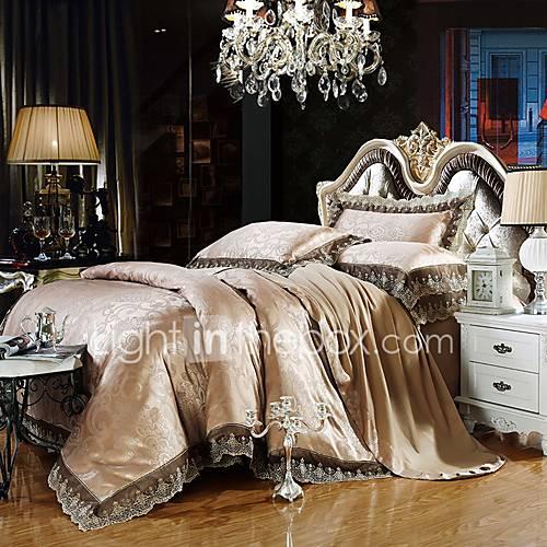 Gray Gold Bedding Set Queen King Size Luxury Silk Cotton