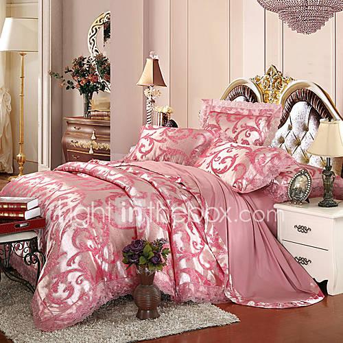 g om trique ensembles housse de couette 4 pi ces m lange soie coton luxe jacquard m lange soie. Black Bedroom Furniture Sets. Home Design Ideas