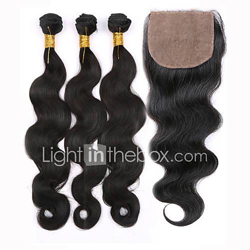 cabelo slove grau 7a não transformados onda corpo peruano pacotes virgens virgens de cabelo humano com fecho de base de seda