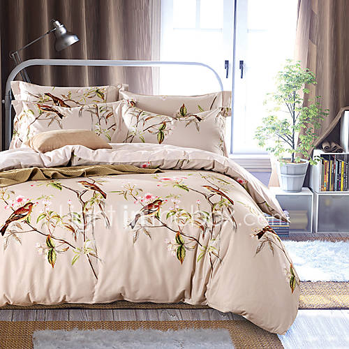 4pc duvet cover set fresh style cotton pattern queen king for Pictures of comforters