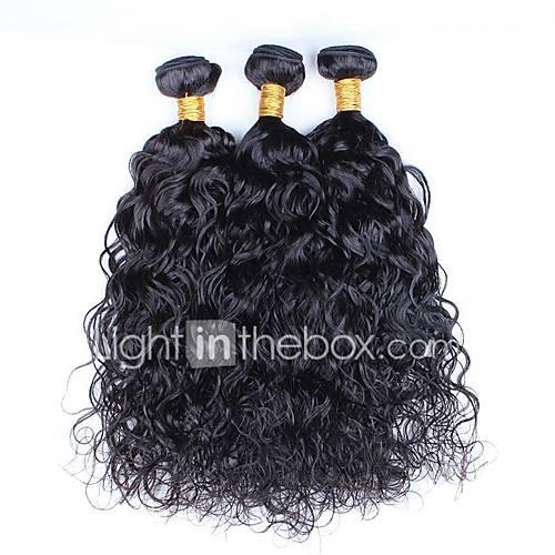 slove cabelo cabelo virgem onda molhado e 7a onda 3 feixes / lot, barato não transformados feixes de cabelo humano brasileiro