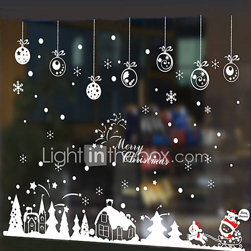 Free Shipping - Wall Stickers Wall Decals Style Christmas Cabin in The Snow PVC Wall Stickers