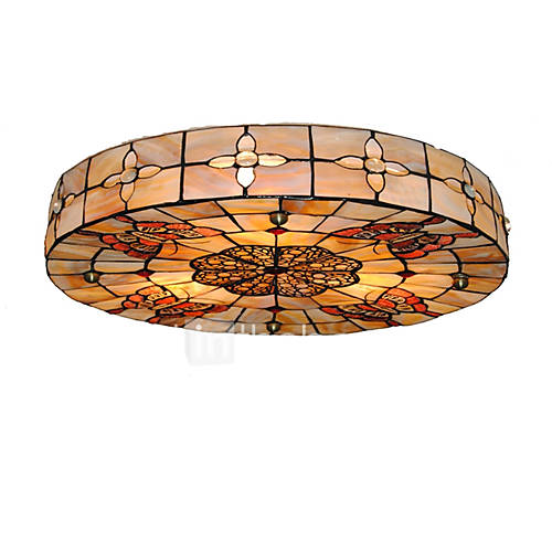 16 Inch Retro Tiffany Ceiling Lamp Shell Shade Flush