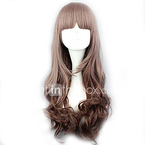 Anime Characters Long Brown Hair : The new wig anime characters long curly dark grey
