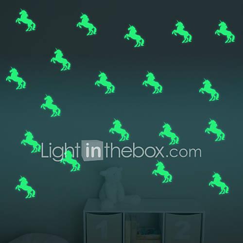Cartoon Luminous Unicorns Wall Stickers For Kids Rooms Home Decor Living Room Wall Decor/Decals Diy Vinyl Wallpaper