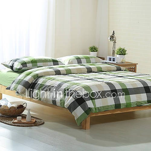 green and gray plaid washed cotton bedding sets queen king size bedlinens 4pcs duvet cover set. Black Bedroom Furniture Sets. Home Design Ideas