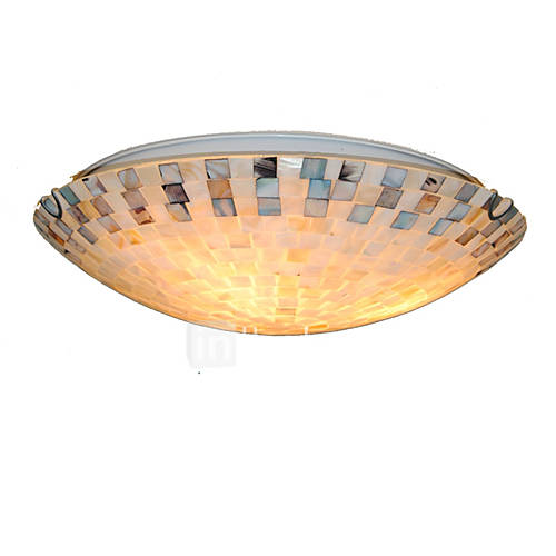 16 inch retro tiffany ceiling lamp shell shade flush for Shell ceiling light fixtures