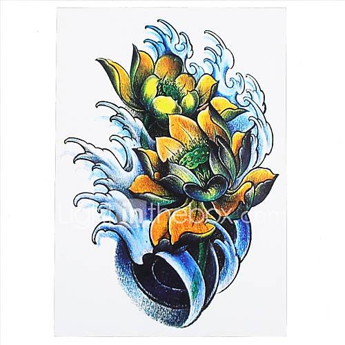 Lotus Flower Tattoo With Dragonfly: 8PCS Women Men Body Art Temporary Tattoo Dragonfly Lotus