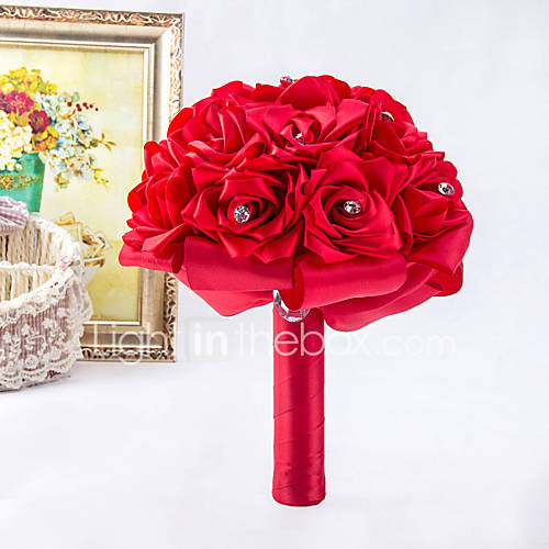 Ramos de Flores para Boda Ronda Rosas Ramos Boda / Fiesta / noche Satén / Espuma / Cristal / Diamantes Sintéticos Aprox.26cm Descuento en Lightinthebox