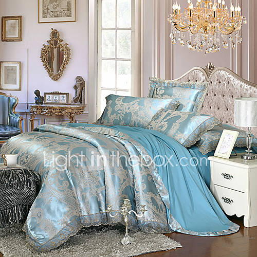 light blue queen king size bedding set luxury silk cotton. Black Bedroom Furniture Sets. Home Design Ideas