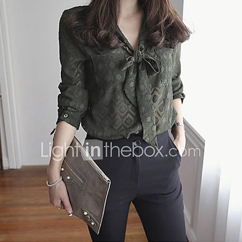 Mujer Simple Trabajo Camisa,Escote en Pico Estampado Manga Larga Poliéster Verde Fino Lightinthebox