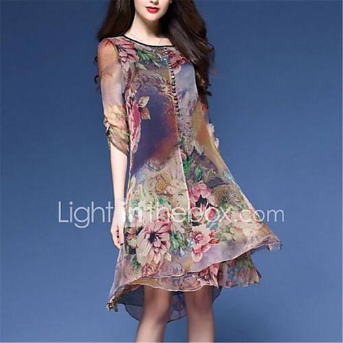 dames-casual-dagelijks-vintage-ruimvallend-jurk-bloemen-ronde-hals-tot-de-knie-halflange-mouw-blauw-nylon-lente-medium-taille