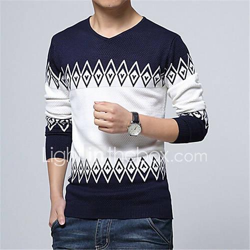 heren-casual-dagelijks-normaal-pullover-kleurenblok-lange-mouw-katoen