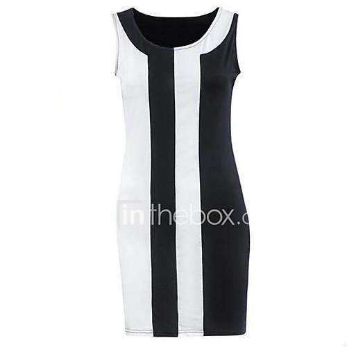vrouwen-casual-dagelijks-grote-maten-eenvoudig-street-chic-schede-jurk-gestreept-ronde-hals-boven-de-knie-mouwloos-zwart-polyester