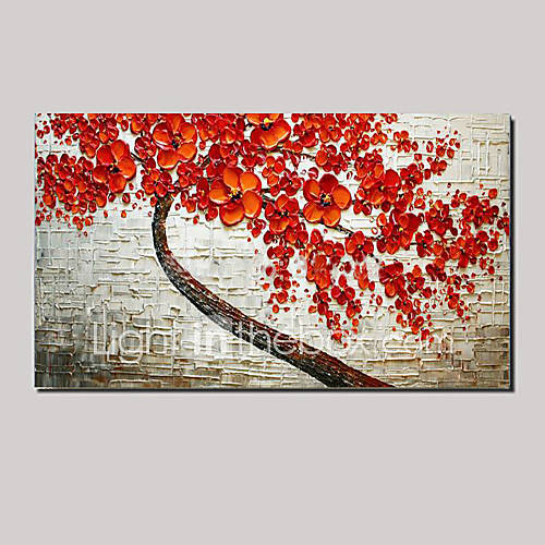 Stretched ready to hang hand painted oil painting red for Canvas painting of cherry blossoms