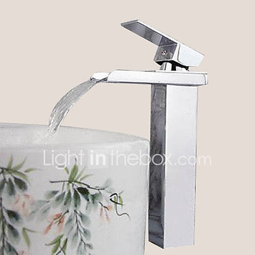Contemporary centerset waterfall with ceramic valve single handle one hole for chrome bathroom for Single hole waterfall bathroom faucet