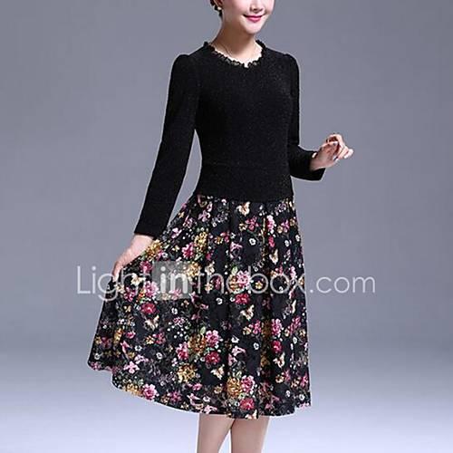 vrouwen-casual-dagelijks-grote-maten-eenvoudig-schede-jurk-patchwork-ronde-hals-tot-de-knie-lange-mouw-zwart-polyester-herfst