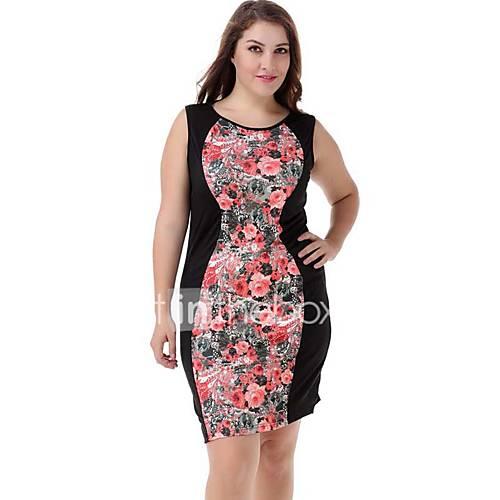 vrouwen-casual-dagelijks-grote-maten-street-chic-jurk-bloemen-ronde-hals-boven-de-knie-mouwloos-rood-polyester-nylon-zomer