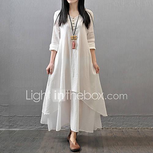 dames-casual-dagelijks-eenvoudig-chinoiserie-ruimvallend-jurk-effen-v-hals-maxi-lange-mouw-katoen-polyester-herfst-medium-taille