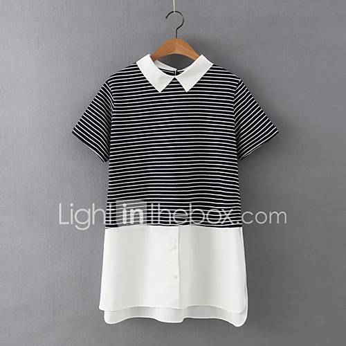 vrouwen-eenvoudig-street-chic-zomer-overhemd-casual-dagelijks-gestreept-overhemdkraag-korte-mouw-zwart-katoen-linnen-dun