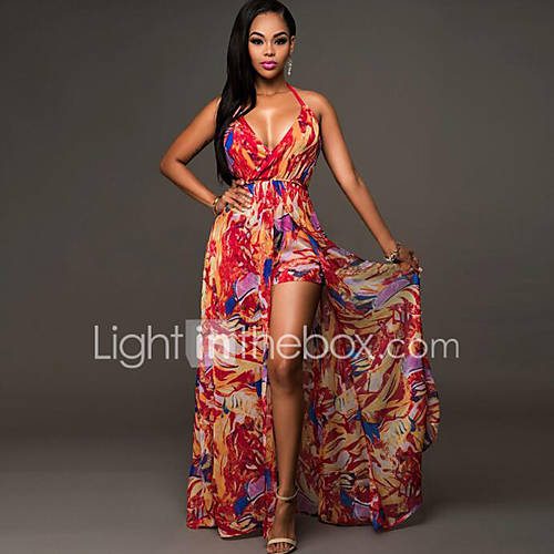 Women's Plus Size Beach Jumpsuit - Print Backless Halter