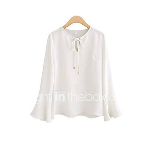 Vrouwen Eenvoudig Zomer T-shirt,Casual/Dagelijks Effen Ronde hals Lange mouw Wit / Zwart Polyester Ondoorzichtig
