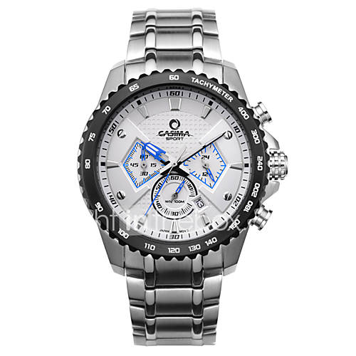 casima watch fashion sports men watch stainless steel mutifunctional stopwatch calendar luminous