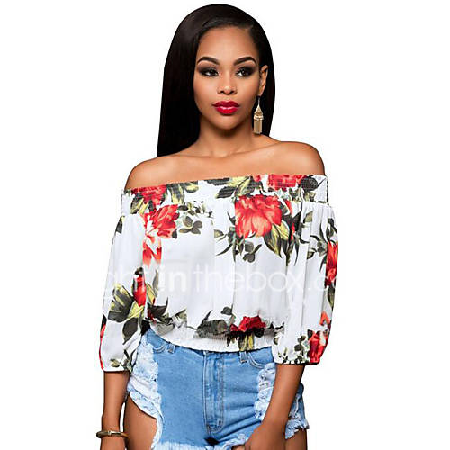 vrouwen-vintage-zomer-t-shirt-casual-dagelijks-bloemen-boothals-driekwart-mouw-blauw-rood-groen-polyester-medium