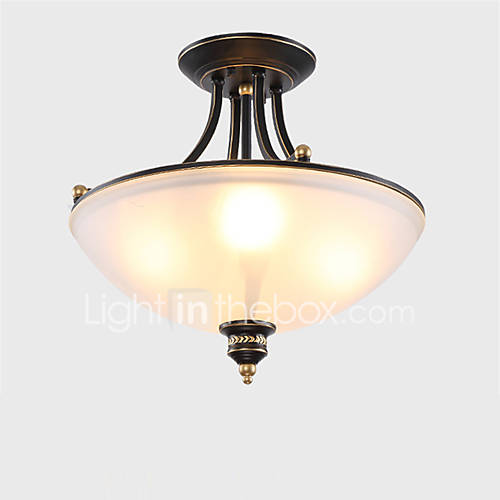3 Country Style Pendant Vanity Light Fixture: 3 Heads Retro Country Style Flush Mount Ceiling Fixture
