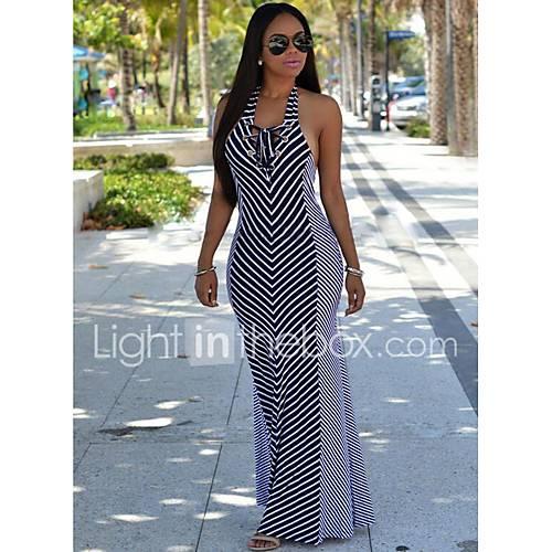 vrouwen-uitgaan-street-chic-wijd-uitlopend-jurk-gestreept-halter-maxi-mouwloos-zwart-polyester-zomer